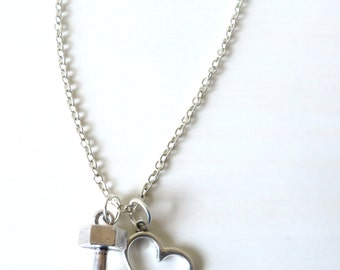 Love to Lift Floating Heart Weightlifting Dumbbell Training Charm Necklace You Choose Necklace Length