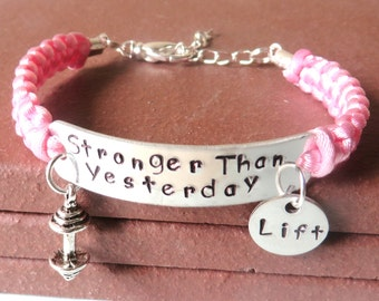 Stronger Than Yesterday Workout LIFT Weight Lifting Bodybuilding Barbell Charm Bracelet You Choose Your Cord Color(s)