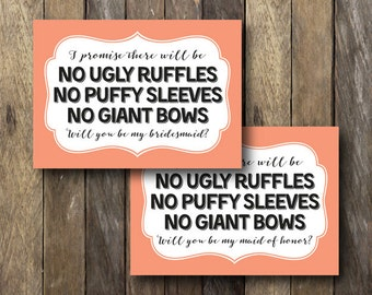Bridal Party Cards - Funny Maid of Honor Card - Printable Bridesmaid Cards - Instant Download - No Ugly Dresses - Matron of Honor Card