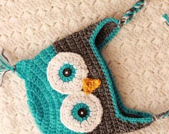 Crochet Owl Hat, Baby Aqua Gray Owl Beanie Boy Owl Turquoise Gray Owl Hat Newborn Baby Owl Hat Toddler Owl Hat