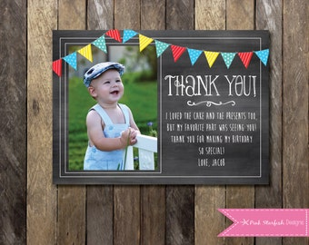Chalkboard Thank You Card with Picture, Chalkboard Thank You, First Birthday Thank You, Printable Thank You, Chalkboard Invitation, Invite
