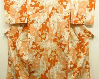 Authentic Silk kimono, Vintage Kimono, nandin nanten kimono, orange red pink Komon, Silk japanese dress, Japanese style, Japanese Fashion