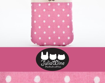 Pink iPhone case, Only one size - 5.1 x 3.5 in. (13 x 9 cm.), Bunny case, polka dot iphone case, Pink Gift for Her