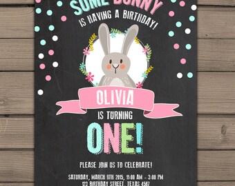 Some Bunny Birthday Invitation Spring birthday invitation Pink First Birthday Chalkboard Invitation Easter photo Digital PRINTABLE ANY AGE