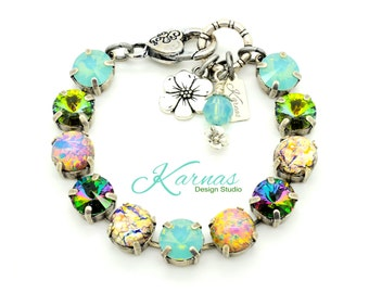 LUAU 10mm or 47ss Crystal & Fire Opal Bracelet Made With Swarovski Elements *Pick Your Finish *Karnas Design Studio *Free Shipping*