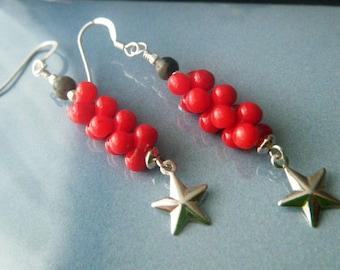 Red coral earrings Sterling silver earrings Dangle star earrings Gemstone earrings Semi precious jewelry Zen jewelry