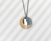 White cat on gold moon with glitter skies Necklace - handmade from eco-friendly bioresin
