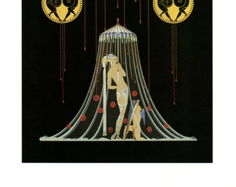 "Vintage Erte Poster, Helen of Troy, Art Deco, item 5566 Art Nouveau Fashion Illustration Print, 13.5"" x 10 3/8"""