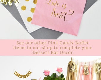 Pink Candy Buffet Bags Gold Pink Candy Bags Wedding Candy Buffet Candy Buffet Ideas Favor Bags Wedding Shower (EB3038) set of 12 BAGS ONLY