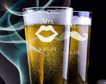 His and Her's Custom Etched Pint Glasses 16 oz - Hipster - Mustache Pint Glass - Lip Pint Glass - Beer Lover