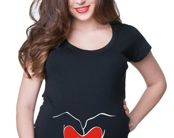 Maternity Tees Baby Heart Love T Shirt  Mom Funny Maternity Shirt For Pregnant  Gift