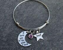 Adjustable Bangle Bracelet - I love you to the moon & back - Stainless steel stars - Swarovski Birthstone Crstal - One size fits all