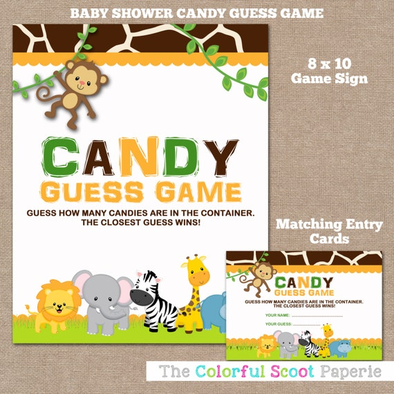 Candy Baby Shower Game: INSTANT DOWNLOAD Jungle Baby Shower Candy By TheColorfulScoot