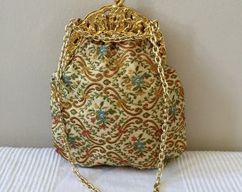 Vintage Antique Floral Kisslock Clutch Handbag with Chain Strap Made in Italy