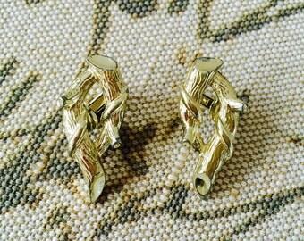 Vintage CORO Silver Tone Branch Clip On Earrings