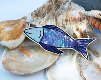 Fish Illustration Shrink Plastic Necklace (Dark Blue)