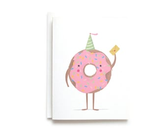 Donut Party - Happy Birthday Card