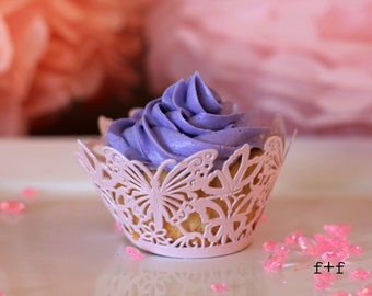 12 Cupcake Wrappers -  Pink Butterfly Lace Cupcake Wrappers - Laser Cut Cupcake Wrappers Package of 12