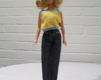 Vintage Blonde Jordache Jeans Fashion Doll or Barbie Type Doll from the 1980s