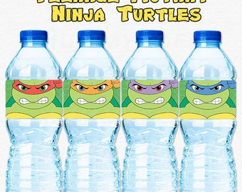 Teenage Mutant Ninja Turtle TMNT Birthday Party Water Bottle Labels - DIY Party Printable Instant Download
