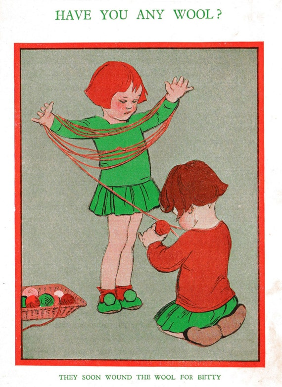 1930s print of illustration by Muriel Harris, two young girls winding wool into a ball, matted for framing, 8 x 10 inches