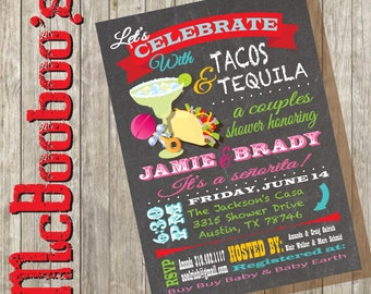 Fiesta Tacos and Tequila Couples Baby Shower Invitations with great typography on a chalkboard background