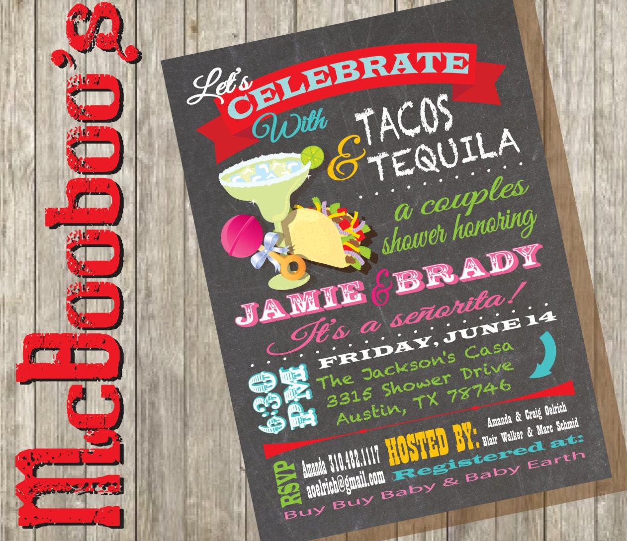 Fiesta Tacos And Tequila Couples Baby Shower Invitations With