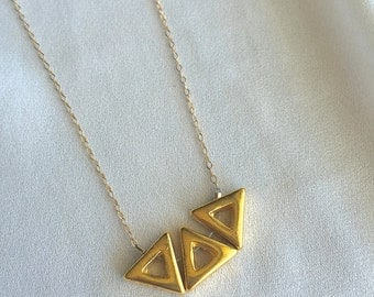 Gold Triangle Necklace; 14kt Gold Filled