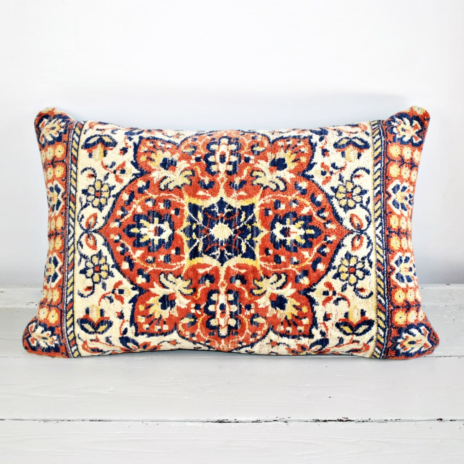 Free Shipping Oriental Rug Pillow No.007m Repurposed