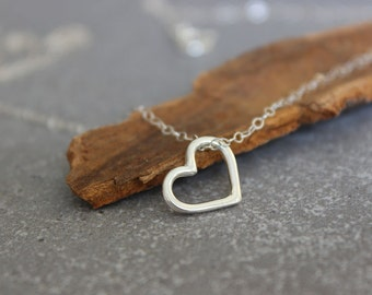 Tiny heart necklace, Sterling silver minimalist necklace, Open heart necklace, Floating heart necklace.