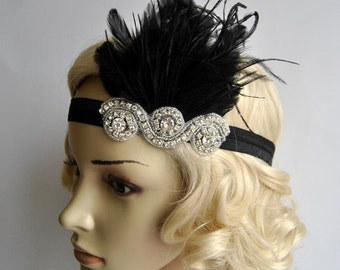 The Great Gatsby,20's flapper Headpiece, Vintage Inspired, Bridal 1920s Headpiece ,1930's, Rhinestone headband bridesmaid flapper headpiece