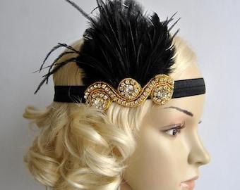 Gold and Black The Great Gatsby,20's flapper Headpiece, Bridal 1920s Headpiece ,1930's, Rhinestone headband, Rhinestone flapper headpiece