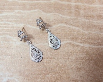 Diamond Accented 14K White Gold Filigree Dangle Ladies Pierced Earrings
