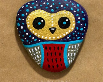 Painted Owl Stone    Painted Owl Rock    Purple, Gold, Red, Teal, White    Made to Order
