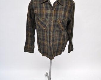 1950s vintage shirt rockabilly wool  50s vlv plaid medium
