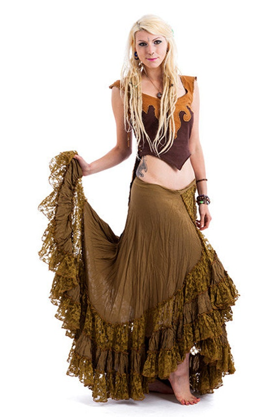 Long Gypsy Skirt Flamenco Skirt Long Wrap Skirt Olive Green