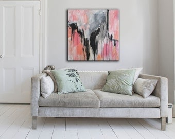 large original painting on canvas, pink, black, salmon, gray modern abstract art