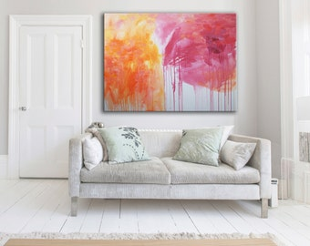 extra large original oil painting, modern abstract orange and hot pink
