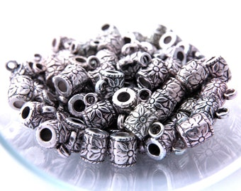 Charm Holder Spacer Bail Links, Tube Slider Beads, Antique Silver Acrylic Beads, 50 pcs CCB Material Spacer Bead, Nickel Free, Spacer Beads