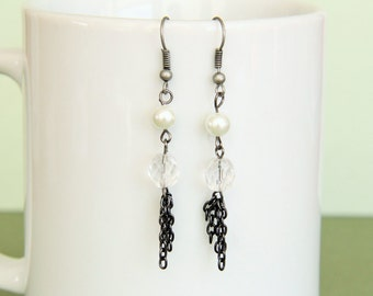 Pearl and Crystal Gunmetal Earrings