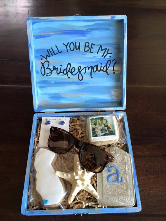 Items Similar To Custom Hand Painted Bridesmaid Box On Etsy