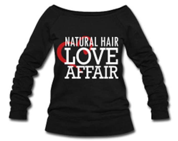 Natural Hair Love Affair Velvet Lettering Slouchy Wideneck Women's Sweatshirt - Black
