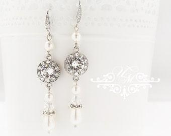 Wedding Jewelry Wedding Earrings Bridal Earrings Bridesmaids Earrings Dangle Earrings Swarovski Pearl Swarovski Crystal earrings - ORLA