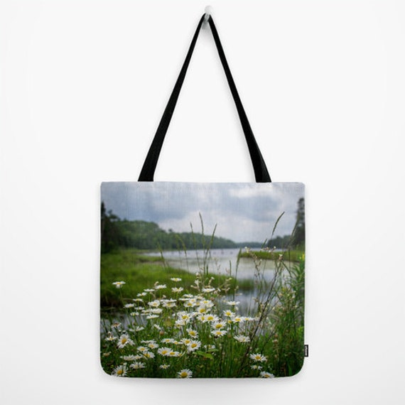 Nature Tote, Wildflower Bag, Yoga Gear, Travel Carry All, Boundary Waters, Landscape Photo, River Photography, White Flowers, Reusable Bag