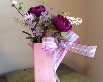 Handmade Floral Arrangement, Valentine's Day Arrangement, Purple Flowers, Tabletop Decor, Pink Rose, Lavender Flowers,
