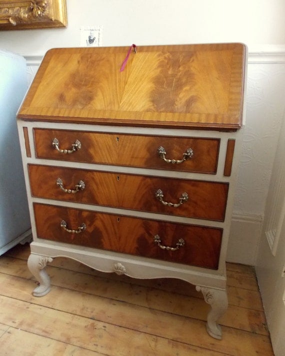 Vintage walnut georgian style 3 drawer bureau by emmettschair - Bureau style vintage ...
