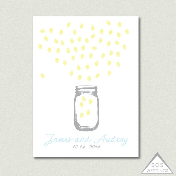 Mason jar fingerprint guest book finger print guestbook like this item sciox Images