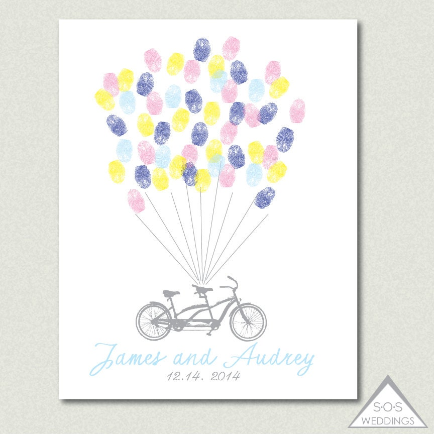 Tandem bike fingerprint guest book wedding thumbprint zoom sciox Images