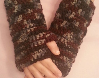 Camouflage Multi-Colored Fingerless Gloves Wrist Warmers - Size S/M - Black, Blues, Greys, Brown