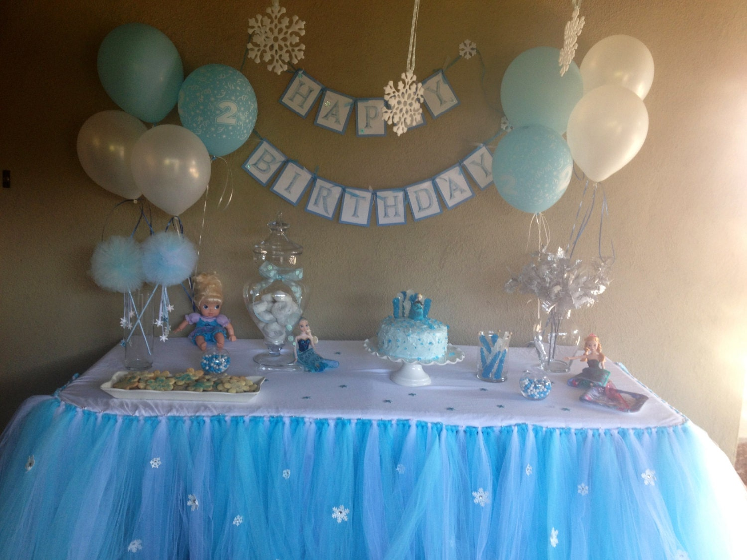 Buffet table skirting - Frozen Inspired Tutu Table Skirt Frozen Party Decoration Table Skirt Tutu Frozen Winter Wonderland Party